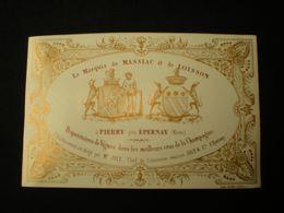 PIERRY - LE MARQUIS DE MASSLAC & DE LOISSON CHAMPAGNE - CARTE PORCELAINE 12.5 X 8 - Epernay
