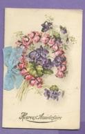Thème -  Carte De Voeu - Anniversaire - Bouquet Avec Flot En Tissu - Carte à Volets Vierge Avec Paillettes - Geburtstag