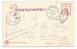 USA CARD POST 1C NEW YORK 1906 TO PE HAN RAILWAY THAN SIN TIEN CHINA NEAR PEKIN - Covers & Documents