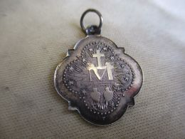 Médaille Religieuse Ancienne Pour Chaînette/Argent/Ô Marie Conçue Sans Péché I/Cœurs Sacrés/1830 /Fin-XIXème  CAN90 - Religión & Esoterismo