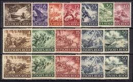831-842 X UND Y - Heldengedenktag, 17 Werte Komplett - Satz ** Postfrisch - Germany
