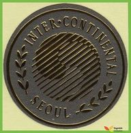 Voyo  INTER CONTINENTAL HOTEL  Seoul South Korea  Hotel Label  Sticker 1990s Vintage Metallized Mini - Etiquetas De Hotel