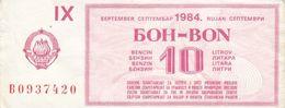Yugoslavia 10 Litar Gasoline Money Bon Paper Voucher September 1984 - Yugoslavia