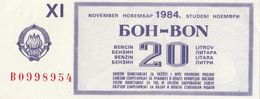 Yugoslavia 20 Litar Gasoline Money Bon Paper Voucher November 1984 - Yugoslavia