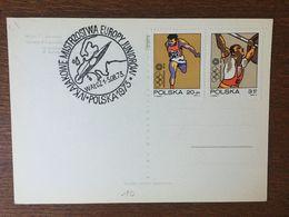 CPM POLOGNE WALCZ CACHET IVKAJAK CHAMPIONNAT D'EUROPE JUNIOR 1973 TIMBRE JEUX OLYMPIQUE MUNICH 1972 HALTEROPHILIE COURSE - 1944-.... Republic