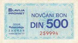 Yugoslavia 500 DIN Money Bon Paper Voucher Slavija Promet OOUR Zagreb - Yugoslavia