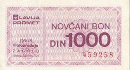 Yugoslavia 1000 DIN Money Bon Paper Voucher Slavija Promet OOUR Zagreb - Yugoslavia