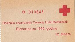 Yugoslavia 12 DIN Money Bon Paper Voucher Red Cross Zagreb Medvescak 1990 - Yugoslavia