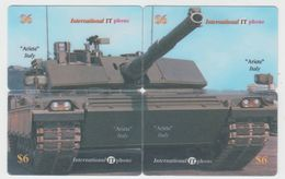 TANK ARIETE PUZZLE OF 4 PHONE CARDS - Armée