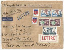 LETTRE DE  MONACO DIVERS 1975 POUR SAVOIE REEXPEDIEE BLASON SAINT LO 20CX2+ PA 5FR AVION POUR COTE D'IVOIRE - 1941-66 Armoiries Et Blasons