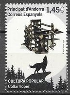 SPANISH ANDORRA, 2020, MNH, ANDORRAN CULTURE, DOGS, WOLF COLLAR, 1v - Hunde