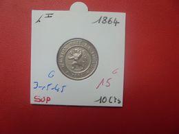 Léopold 1er. 10 Centimes 1864 QUALITE SUPERBE (A.3) - 1831-1865: Leopold I