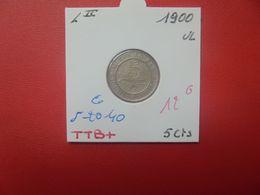 Léopold II. 5 Centimes 1900 VL TRES BELLE QUALITE (A.3) - 03. 5 Céntimos