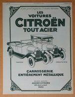 1925 Les Voitures Citroën Tout Acier Torpedo, Conduite Intérieure (Automobile Quai De Javel Paris) - Publicité - Pubblicitari