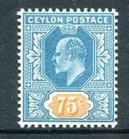 Ceylon 1903-05 KEVII - Wmk. Crown CA - 75c Dull Blue & Orange HM (SG 274) - Ceylon (...-1947)