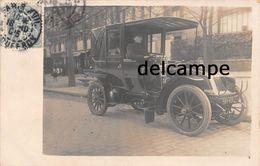 75 - PARIS - Carte Photo Automobile DE DION BOUTON Avec Son Chauffeur - Beau Plan 1905 - Taxis & Fiacres