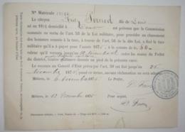 RECU TAXE MILITAIRE 1875 - FRITZ PERNOD (1838-1880) - ABSINTHE - Signature Prefet D.FAVRE - Documents Historiques