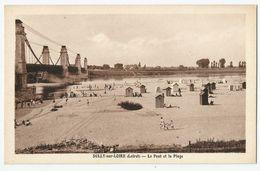 CPA [45] Loiret > Sully Sur Loire - Le Pont Suspendu Et La Plage - Sully Sur Loire