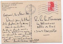 2,00 Rouge Liberté De Gandon De Carnet Daté 25.11.1983 Sur Carte Postale De CORTE CORSE Février 1984 SUP! - 1982-90 Liberté De Gandon