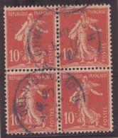 10c SEMEUSE AVEC SOL BLOC DE QUATRE Rouge Foncé Oblitération Cachet PARAIS 1906 Jolie Pièce! - France