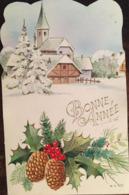 Cp, Bonne Année, éd MD 529, Village Enneigé, Houx, Sapins, Non écrite (13,8 X 8,8 Cms) - Nieuwjaar