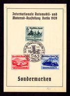 DR Sonderkarte BERLIN-CHARLOTTENBURG - 17.12.39 Mi.686-688 SST Intern. Automobil- U. Motorradausstellg.Bln 1939 - Deutschland