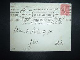 LETTRE TP SEMEUSE 50c OBL.MEC.9 VIII 27 VICHY ALLIER (03) Pour Le Comte POTULICKI CHATEAU DE PREBAILLY GEX AIN (01) - Poststempel (Briefe)