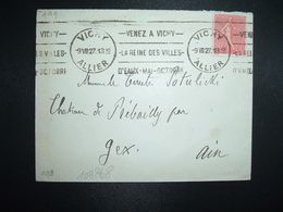 LETTRE TP SEMEUSE 50c OBL.MEC.9 VIII 27 VICHY ALLIER (03) Pour Le Comte POTULICKI CHATEAU DE PREBAILLY GEX AIN (01) - Marcofilia (sobres)