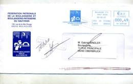Lettre Flamme Ema Mulhouse Patron Boulanger + Retour  + Sentheim - Poststempel (Briefe)