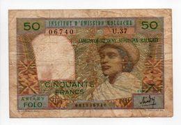 - Billet MADAGASCAR - 50 FRANCS INSTITUT D'ÉMISSION MALGACHE - ARIARY FOLO - - Madagascar