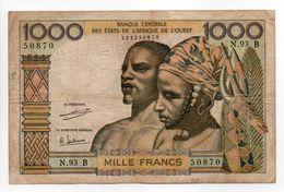 - Billet BANQUE CENTRALE DES ÉTATS DE L'AFRIQUE DE L'OUEST - 1000 FRANCS - - Côte D'Ivoire