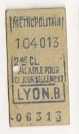 ANCIEN TICKET DE METRO PARIS LYON B   C814 - Europe