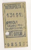 ANCIEN TICKET DE METRO PARIS SEVRES BABYLONE     C814 - Subway