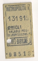 ANCIEN TICKET DE METRO PARIS SEVRES BABYLONE     C814 - Europe