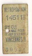ANCIEN TICKET DE METRO PARIS VINCENNES B      C814 - Europe