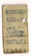 ANCIEN TICKET DE METRO PARIS BUTTES BASTILLE C      C814 - Europe