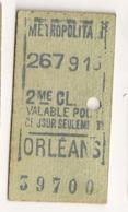 ANCIEN TICKET DE METRO PARIS ORLEANS      C815 - Europe