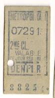 ANCIEN TICKET DE METRO PARIS DENFERT       C815 - Subway