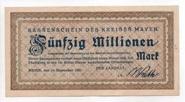 - Billet ALLEMAGNE - 50 Millionen MARK - KASSENSCHEIN DES KREISES MAYEN - - 1918-1933: Weimarer Republik