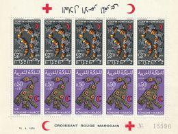 MAROC - Feuille N°602/3 ** 5 Paires Tête-bêche (1970) Croissant Rouge - Bijoux - - Maroc (1956-...)