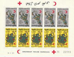 MAROC - Feuille N°616/7 ** 5 Paires Tête-bêche (1971) Croissant Rouge - Bijoux - - Maroc (1956-...)