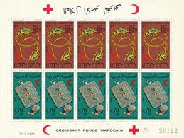 MAROC - Feuille N°637/8 ** 5 Paires Tête-bêche (1972) Croissant Rouge - Bijoux - - Maroc (1956-...)