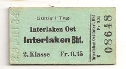 1934 ANCIEN TICKET DE TRAIN INTERLAKEN OST // INTERLAKEN BHF / SUISSE       C816 - Chemins De Fer