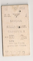 1967 ANCIEN TICKET DE TRAIN SAVONA NIZZA       C816 - Chemins De Fer