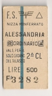 1967 ANCIEN TICKET DE TRAIN  NIZZA MONFERRATO ALESSANDRIA      C816 - Chemins De Fer