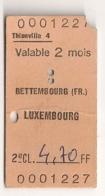 ANCIEN TICKET DE TRAIN  THIONVILLE 4 BETTEMBOURG LUXEMBOURG      C816 - Chemins De Fer