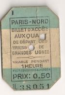ANCIEN BILLET TICKET D'ACCES AUX QUAIS PARIS NORD      C816 - Chemins De Fer