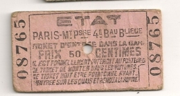 ANCIEN BILLET TICKET D'ENTREE DANS LA GARE PARIS MONT PARNASSE / ETAT     C816 - Chemins De Fer