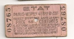 ANCIEN BILLET TICKET D'ENTREE DANS LA GARE PARIS MONTPARNASSE / ETAT     C816 - Chemins De Fer