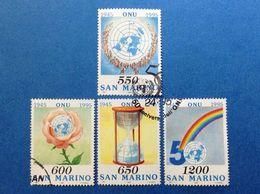1995 SAN MARINO FRANCOBOLLI USATI STAMPS USED CINQUANTENARIO ONU 4 VALORI - Oblitérés